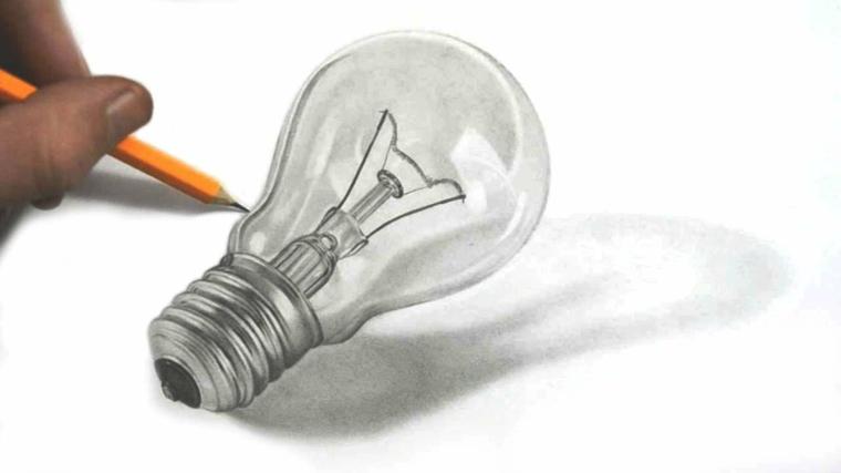 immagini-da-disegnare-facili-ultimi-tratteggi-matita-lampadina-tradizionale-realizzata-3d-ombra-sfondo-bianco