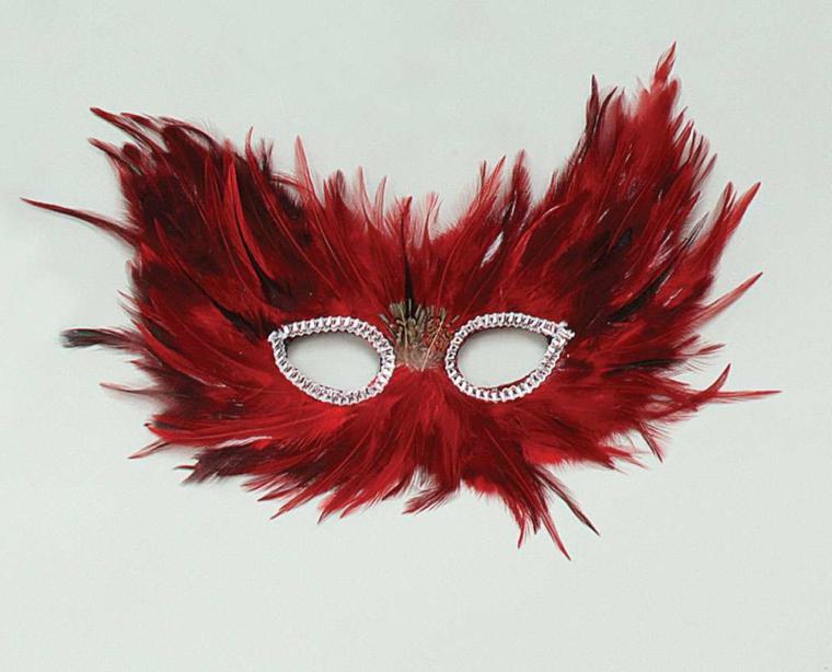 lavoretti-di-carnevale-maschera-realizzata-piume-rosse-zona-occhi-contornata-brillantini-decoro-mezzo