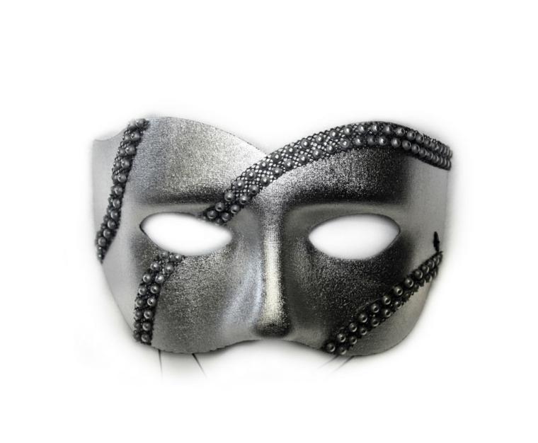 maschera-di-carnevale-mezzo-volto-color-grigio-opaco-decorazioni-strisce-borchiette