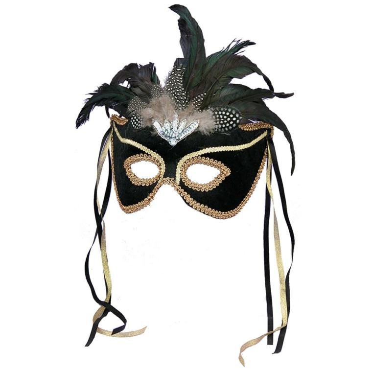 maschera-di-carnevale-proposta-adulti-nera-contorni-oro-piume-copricapo-decorazioni-lati