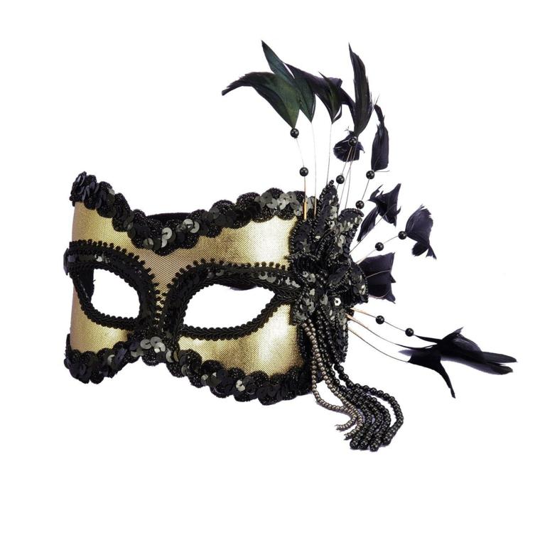 maschera-di-carnevale-proposta-elegante-ragginata-oro-profili-neri-piume-parte-laterale