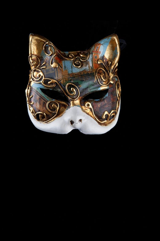 maschera-veneziana-soggetto-particolare-forma-muso-gatto-colorato-azzurro-rosso-oro
