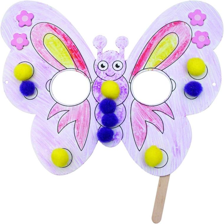 maschere-di-carnevale-per-bambini-idea-carina-forma-farfalla-bianca-decorazioni-colorate-palline-applicate