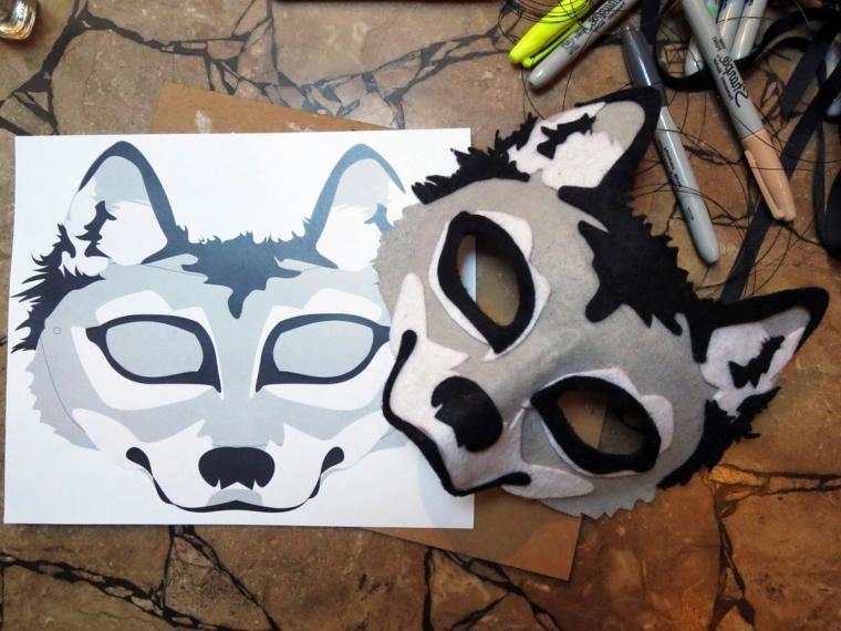maschere-di-carnevale-per-bambini-idea-disegno-forma-lupo-grigio-nero-orecchie-naso