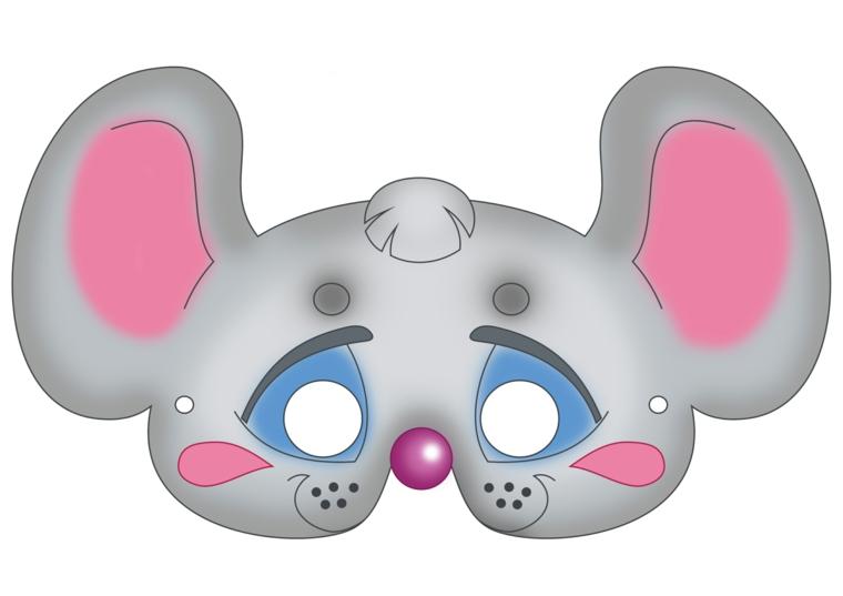 maschere-di-carnevale-per-bambini-idea-forma-topolino-grigio-occhi-azzurri-grandi-orecchie-interno-rosa