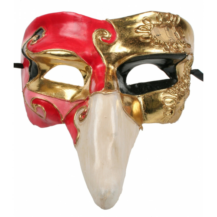 maschere-di-carnevale-personaggio-pulcinella-meta-volto-oro-altra-meta-rossa
