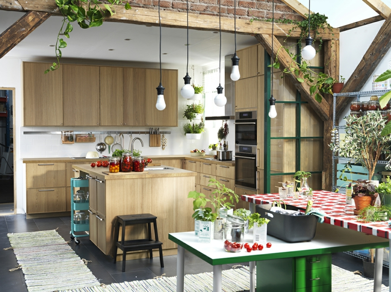 mobili-da-cucina-ikea-legno-lampadari-sospensione-tante-piante-soluzioni-storage