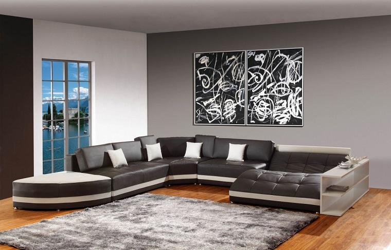 pareti grigie-salotto-grande-divano