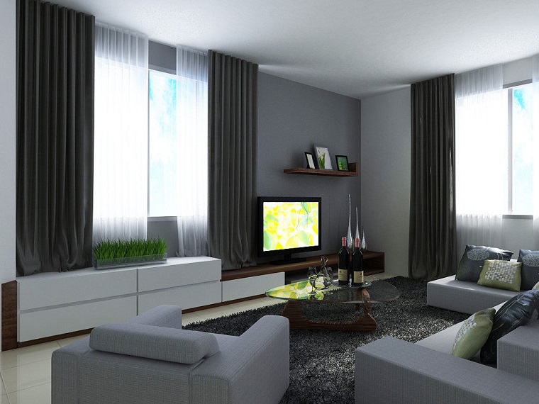 paretie-grigia-salone-stile-moderno