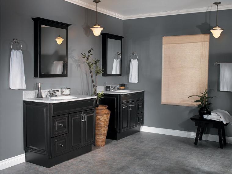 pavimento grigio-bagno-mobili-neri