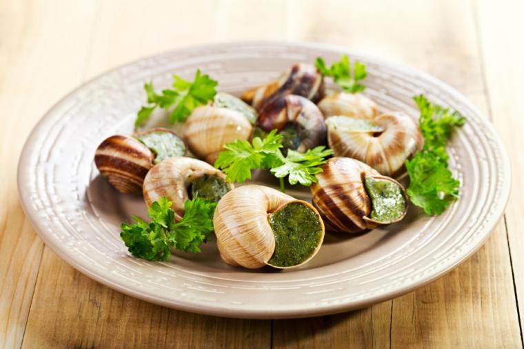 primi-piatti-veloci-prezzemolo-lumache-francese-tavolo-in-legno-piatto-porcellana