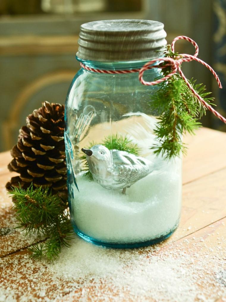 regali-natale-proposta-decorare-tavola-fai-da-te-barattolo-vetro-vischio-neve-sale-uccellino