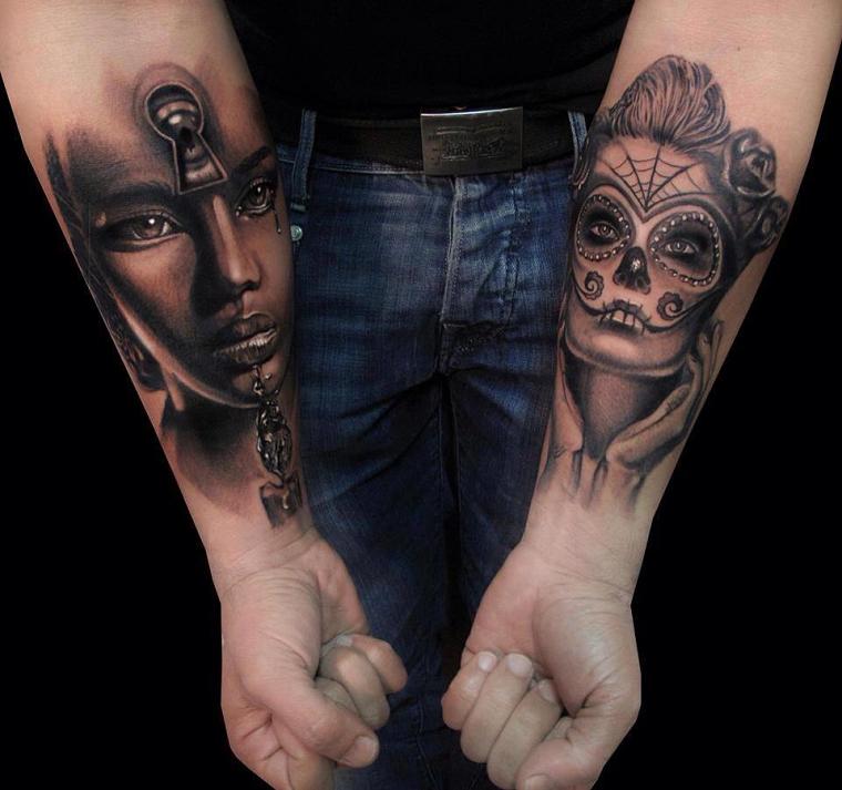 tatuaggio-avambraccio-due-volti-donne