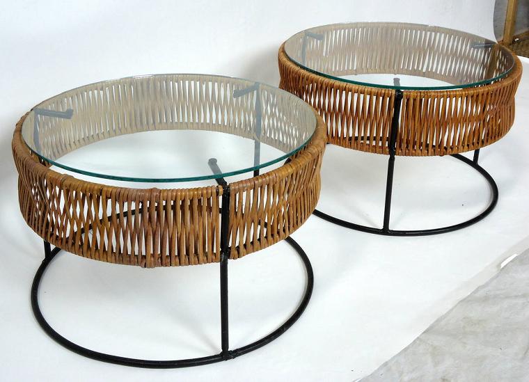 tavolo ferro battuto-bamboo-vetro