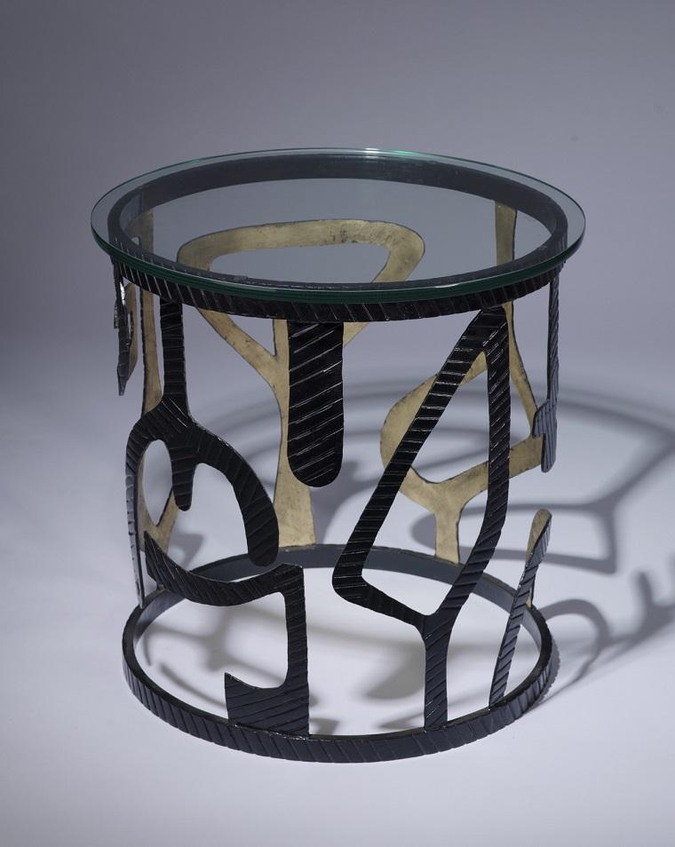 tavolo ferro battuto-forma-cilindrica