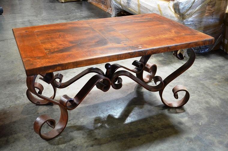 tavolo-ferro-battuto-lavorato-top-legno