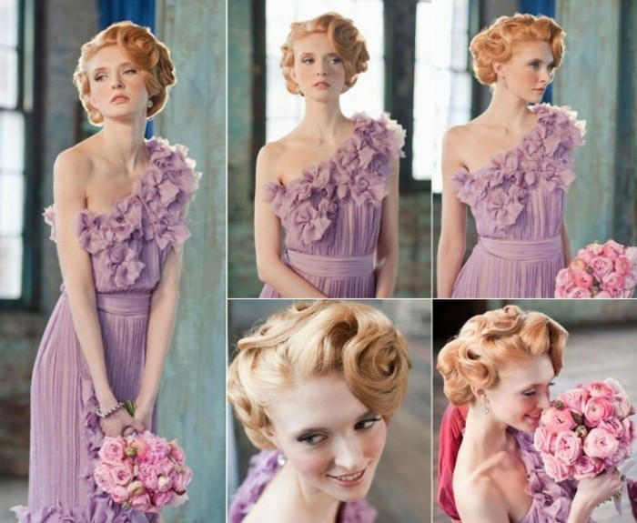acconciatura-anni-50-donna-capelli-biondi-vestito-elegante-bouquet-fiori