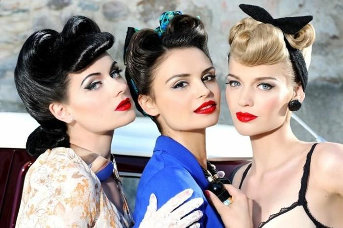 acconciatura-donna-stile-retrò-anni-50-capelli-legati-fascia-truco-vestiti-eleganti-donne