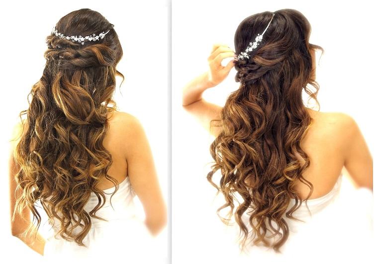 acconciature-capelli-mossi-sciolti-castano-scuro-lunghi-coroncina-brillanti-ideale-cerimonia