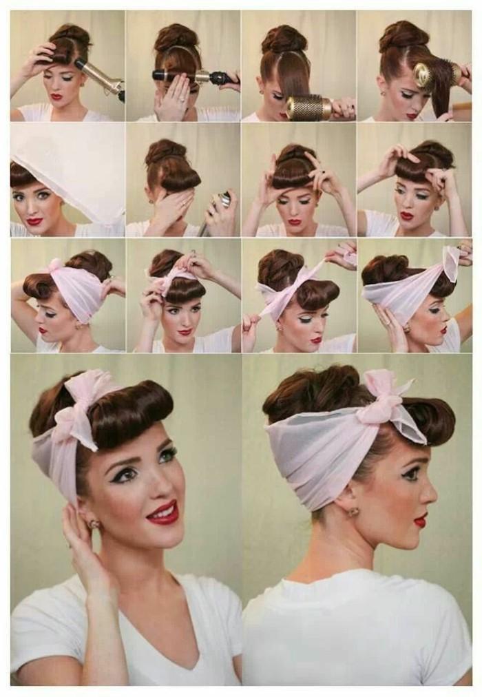 acconciature-fai-da-te-passo-per-passo-donna-capelli-castani-fascia-bianca-fiocco-pin-up-avanti