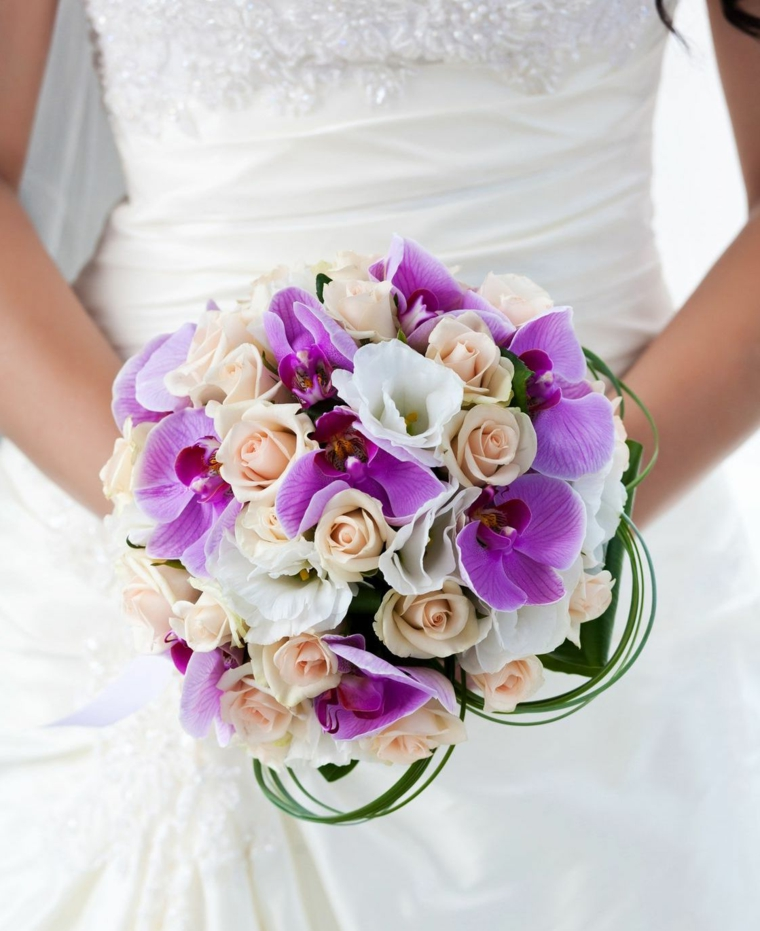 bouquet-sposa-orchidee-viola-rose-bianche-rosa