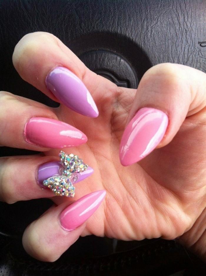 brillantini-unghie-forma-grande-fiocco-anulare-smalto-rosa-viola-unghie-alternate