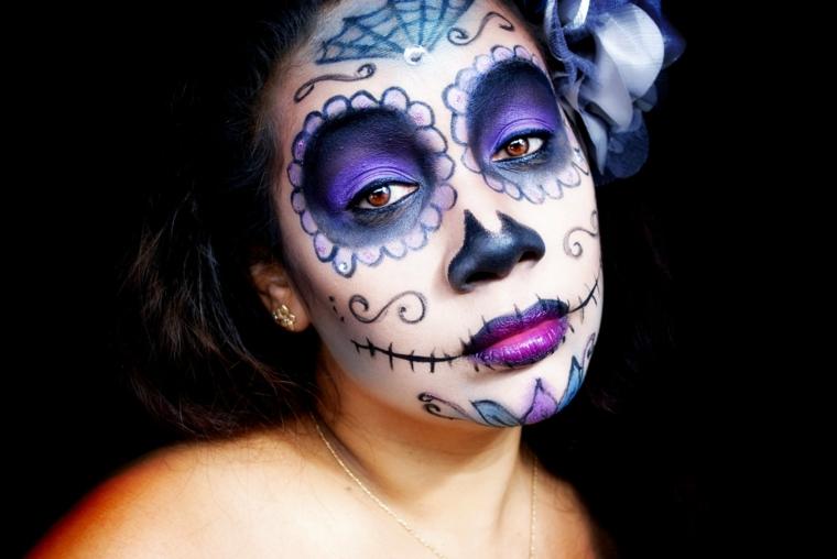 colori-per-body-painting-sugar-skull-viso-donna-fiori-fra-capelli