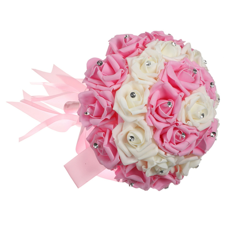 fiori-matrimonio-bouquet-forma-rotonda-rose-bianche-rosa-perle