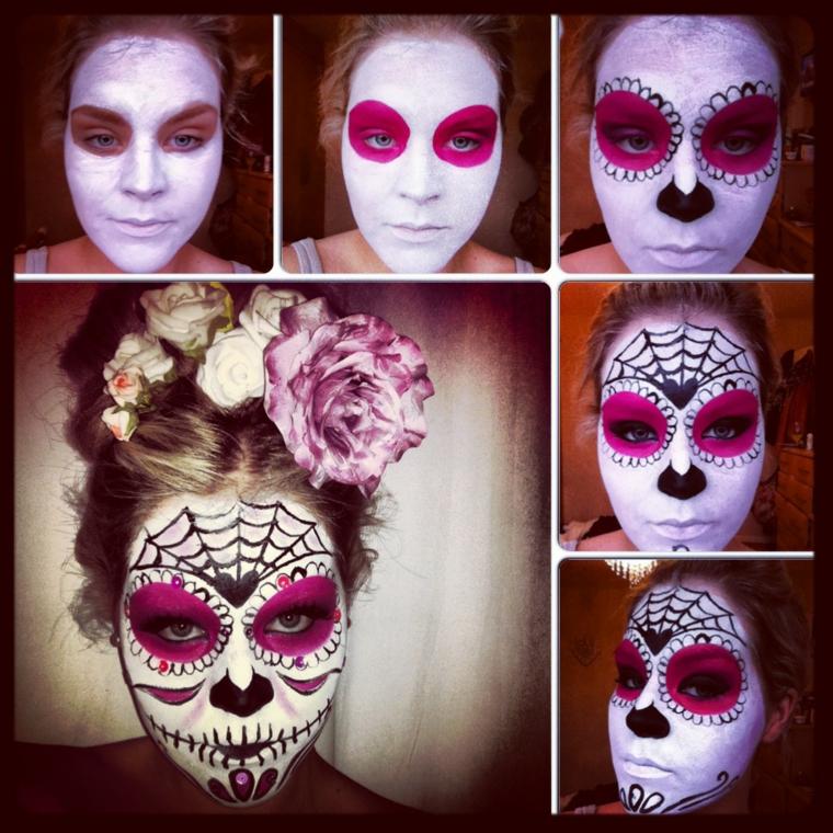 idea-trucco-per-halloween-faccia-bianca-occhi-viola-fiori-capelli