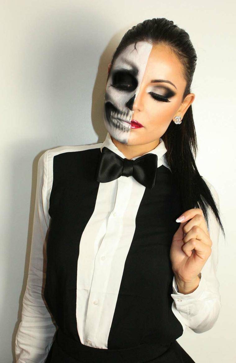 idea-viso-halloween-metà-faccia-scheletro-smoking-donna-capelli-legati