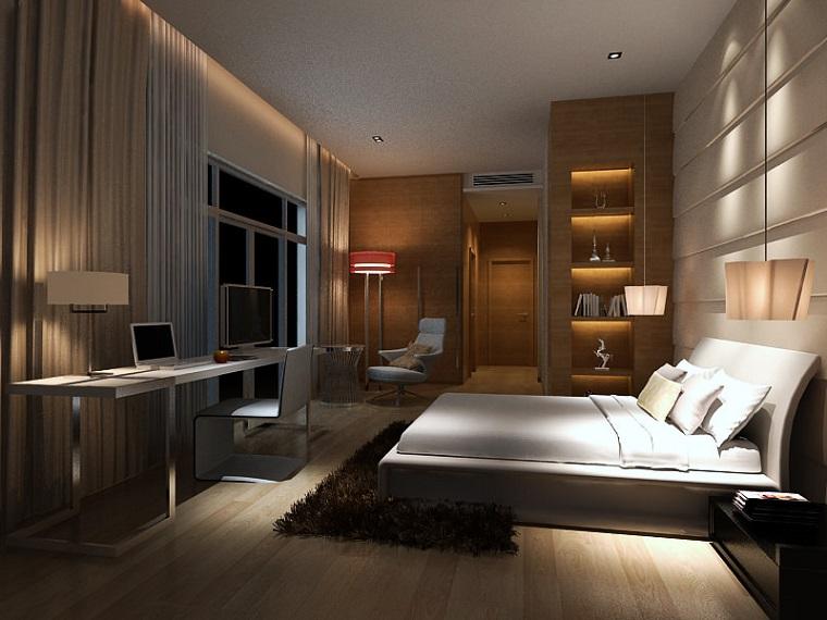 idee-arredamento-zona-notte-parete-nicchie-illuminazione-soffusa-scivania-legno-zona-relax-poltrona