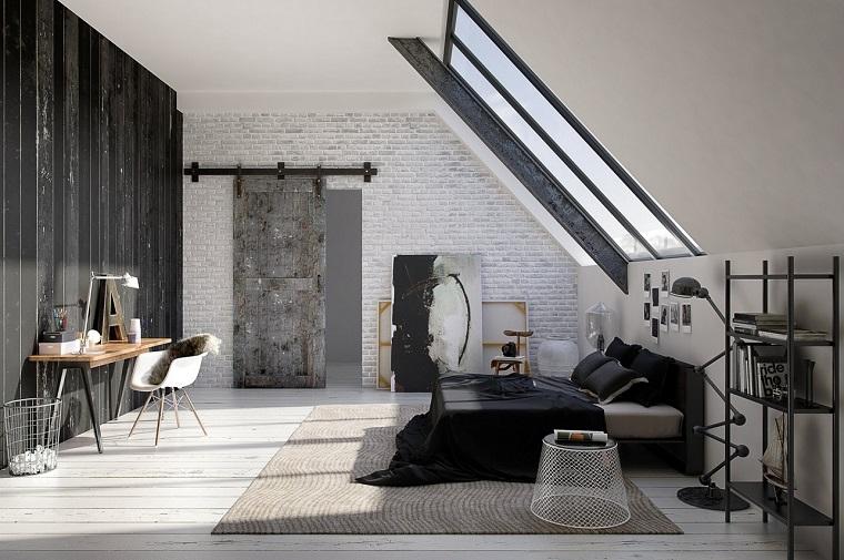 idee-camera-da-letto-arredo-stile-industriale-grigia-mattoni-soffitto-sospensione-lenzuola.scure-lampada-da-terra