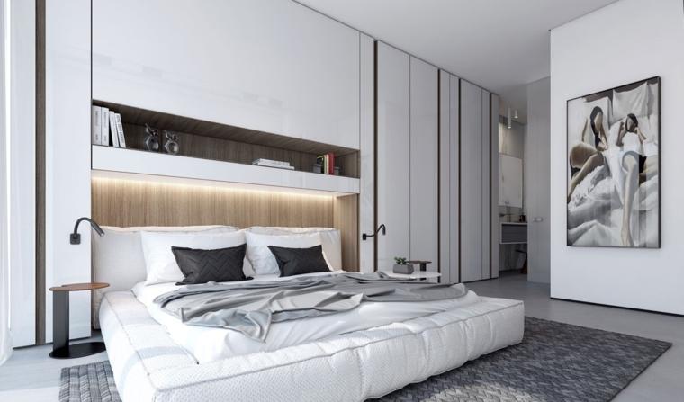 illuminazione-soffusa-parete-bianca-quadro-parete-letto-bianco-imbottito-nicchia