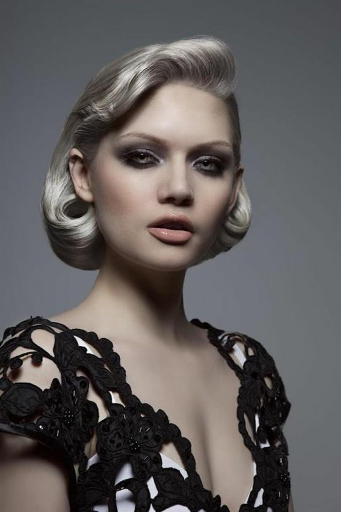 look-anni-50-donna-capelli-biondi-corti-rockabilly-vestito-elegante