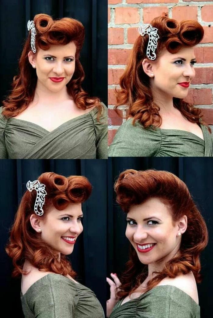 look-anni-50-donna-sorridende-capelli-color-rame-pin-up-stile-rockabilly-vestito-verde-oliva-elegante