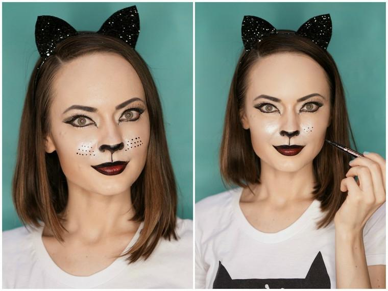 make-up-donna-halloween-gatta-orecchie-naso-nero-rossetto-dark-capelli-castani
