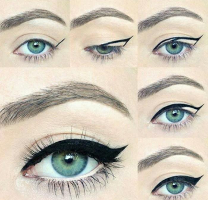 make-up-donna-occhi-abbinato-capelli-stile-anni-50-mascara-nero-ciglia-sopracciglia-occhi-blu