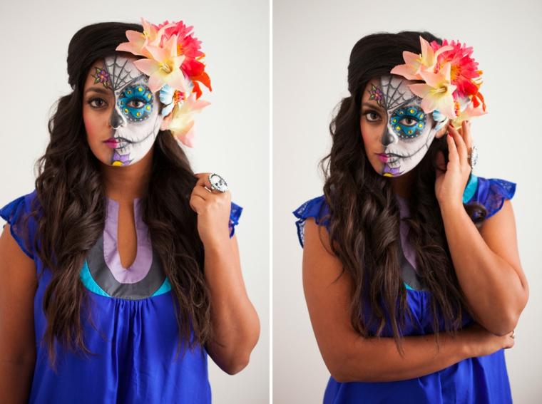 make-up-donna-per-halloween-capelli-lunghi-ricci-fiori-testa