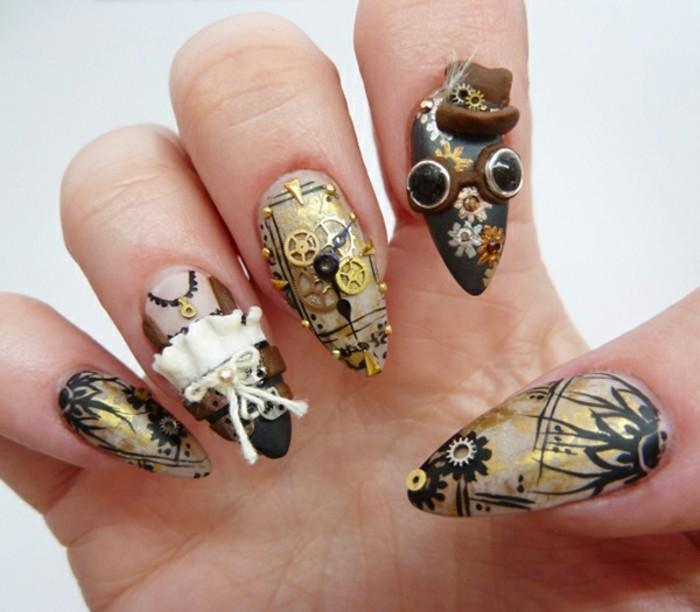 manicure-originale-applicazioni-forma-fiocco-bianco-pietre-nere-smalto-oro-nero