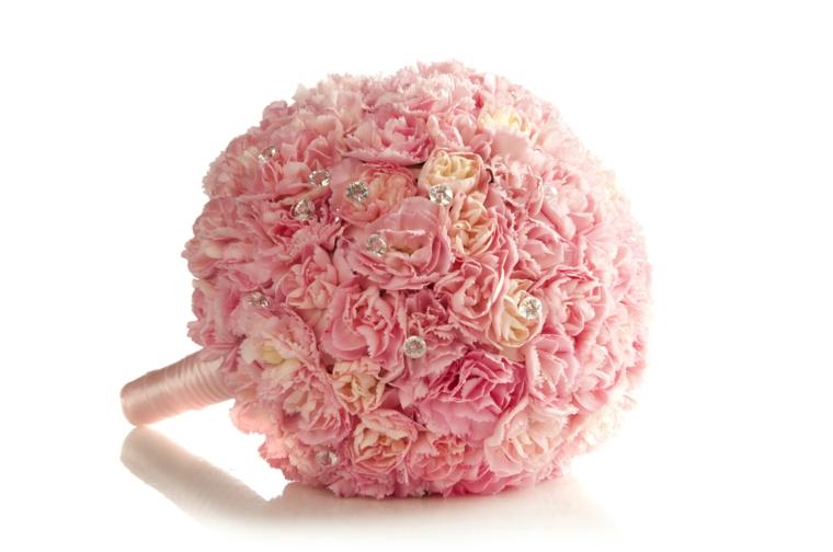 mazzi-di-fiori-particolari-bouquet-rotondo-monocoloare-rosa-chiaro-brillantini