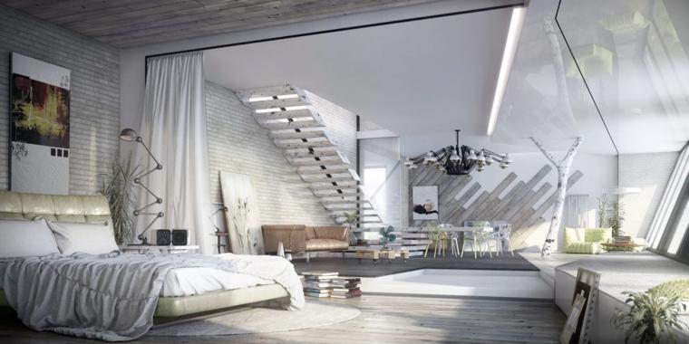 open-space-zona-notte-colore-bianco-scale-mobili-soggiorno-decorazioni