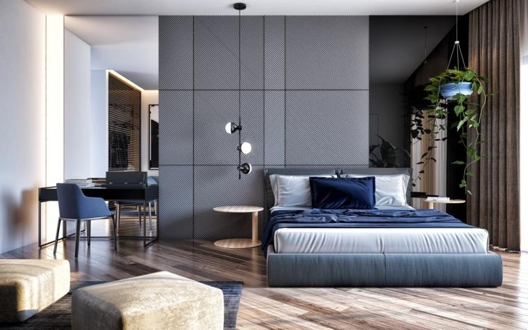 parete-divisoria-camera-letto-tessuto-vaso-pianta-sospensione-soffitto-pavimento-legno-scrivania-lampada-sospensione