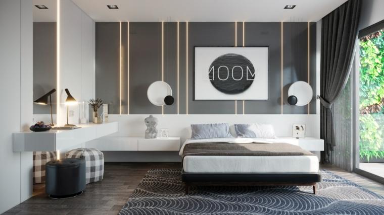 parete-illuminazione-nascosta-decorazioni-quadro-comodino-bianco-lucido-tappeto-grigio