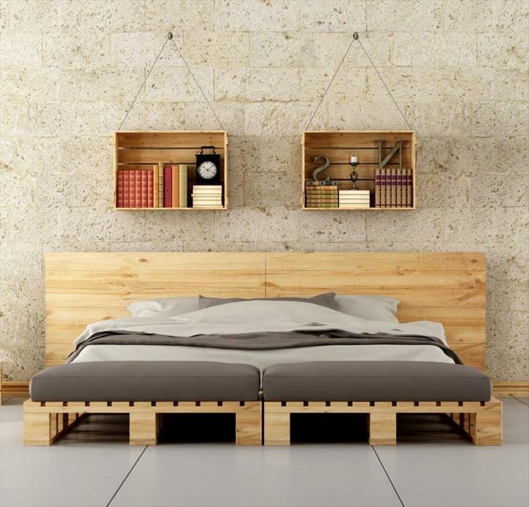 riciclo-creativo-pallet-letto-matrimoniale-testata-squadrata-due-mensole-legno-grezzo