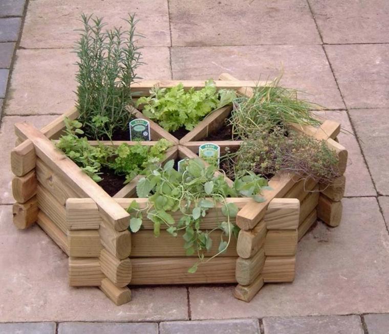 riciclo-creativo-pallet-vaso-forma-esagono-vari-scomparti-piante-aromatiche