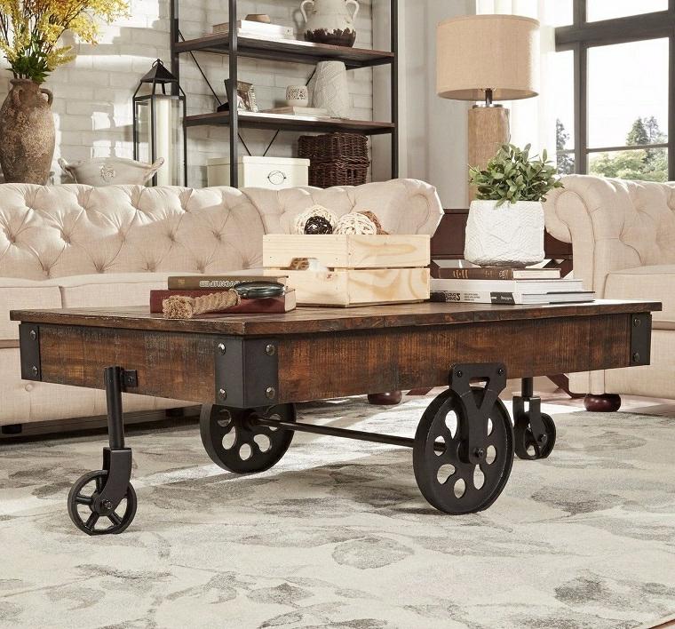 riciclo-creativo-pallet-verniciato-tavolo-caffe-soggiorno-tre-ruote-ferro-battuto