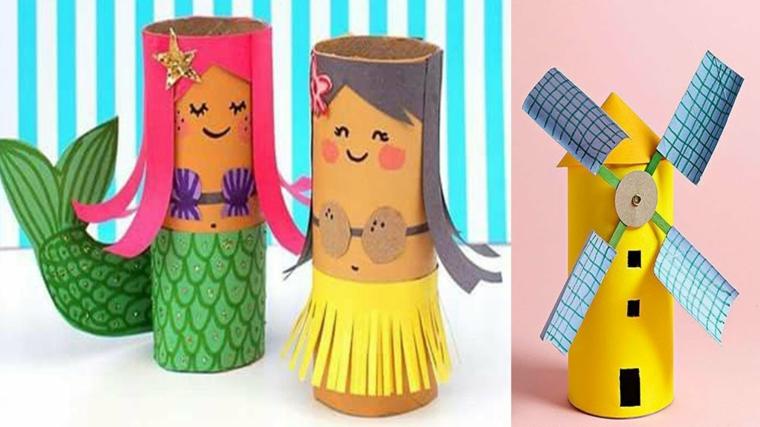 riciclo-creativo-tubi-cartone-colorati-vari-soggetti-sirena-ragazza-gonna-gialla-mulino-vento