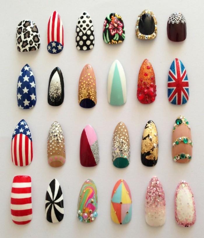 tante-idee-manicure-colorate-originali-bandiera-inglese-americana-pois-maculate