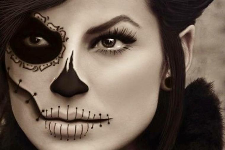 travestimento-halloween-donna-occhio-sfumato-nero-bocca-cucita-rimmel