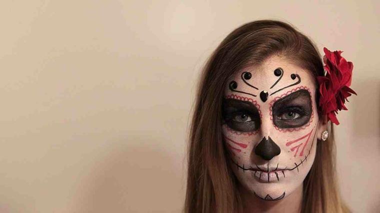 trucchi-halloween-idea-donna-sugar-skull-colore-nero-rosso-fiore-capelli
